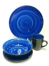 Mcleland Design 32 Pc Stoneware Dinnerware Sets Mcleland Design 16 Pc Service For 4 Blue Black Stoneware Dinnerware Set New