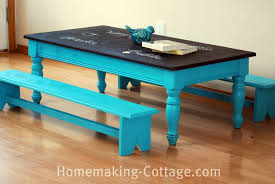 make a kids chalkboard table with benches homemaking