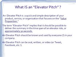 What Is A Elevator Speech Updated The Elevator Speech And Investor Pitch