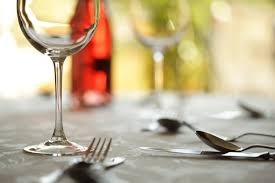 glasses table setting. Wine Glass And Place Setting In A Restaurant Glasses Table
