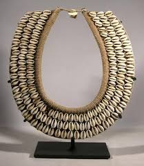 Tribal Necklace Display Stand Custom display stand for an antique woven fiber and cowry shell 2