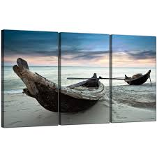 Wall Art Sets For Living Room Cheap Beach Boats Canvas Wall Art Set Of Three For Your Living Room