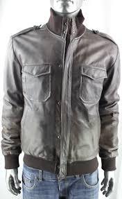 men s brown leather er jacket