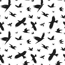 Bird Pattern Adorable Silhouette Black Fly Birds Background Pattern Vector Royalty Free