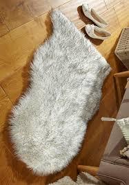 faux fur grey tipped rug