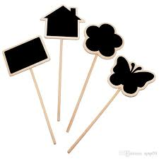 2019 house design wooden blackboard chalkboard with stick flower plant pot label tag sign wood stake table number sign wood crafts from sjnp05