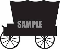 black and white covered wagon. covered wagon silhouette - royalty free clipart picture black and white