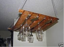 Hanging Wine Glass Rack/holder Made From Oak Wine Barrel Staves Holds 24