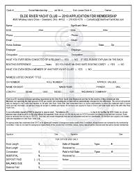 Application For Membership Membership Olde River Yacht Club