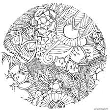 Coloriage Mandala Fleurs Vegetales Foret Adulte Dessin