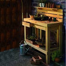 gardman 34611 wooden workbench garden potting work shed table diy work bench