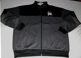 Majestic Jacket Size Chart Details About Miami Marlinis Full Zip Jacket 2xl Granite Black Front Back Logos Majestic Mlb
