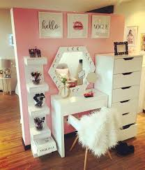 beautiful vanity and makeup storage