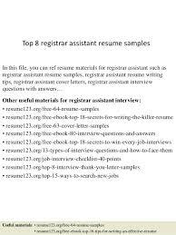 Associate Registrar Sample Resume Gorgeous Assistant Registrar Cover Letter Assistant Registrar Resume