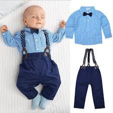 Light Blue Plaid Pants Us 10 19 31 Off 2 Pcs Kids Boys Long Sleeved Light Blue Plaid Shirt Tie Dark Blue Long Bib Pants Suspender Clothing Sets For Autumn Wear 0 2y In