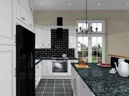 black and white kitchens white painted wall black granite countertop grey tile mosaic backsplash with black granite countertops home improvement and