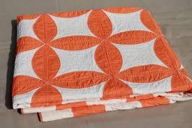 stitched vintage cotton quilt, circle star quilt in orange & white & hand-stitched vintage cotton quilt, circle star quilt in orange & white Adamdwight.com