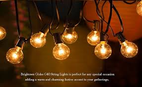 25ft g40 globe string lights with clear bulbs ul listed backyard patio lights hanging indoor outdoor string light for bistro pergola deckyard tents market