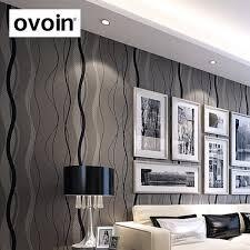 Modern Wallpaper For Living Room Aliexpresscom Buy Wave Grey Lines Stripes Modern Wallpaper Non