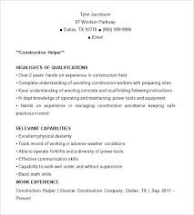 Construction Laborer Resume Sample Resume For Laborer Construction ...
