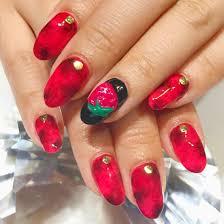 赤黒 タイダイ いちご3dエンボスnail Salon Gloss Magic所属nail