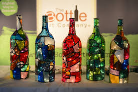 Stained Glass Wine Bottle Decorations Stained Glass Light Up Wine Bottles With Lights bottle painting 2