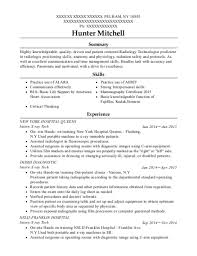 New York Hospital Queens Intern X Ray Tech Resume Sample - Pelham ...