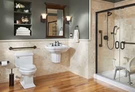 handicap accessible bathroom. an accessible bathroom sink vanity for the disabled, which move with help of wheelchair handicap