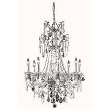 elegant lighting imperia pewter eight light chandelier with swarovski strass crystal