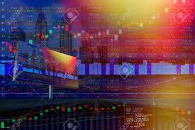 Malaysia Stock Market Chart Double Exposure Of Stocks Market Chart On Display Concept With
