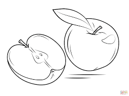 Small Picture Whole Apple and Cross Section coloring page Free Printable