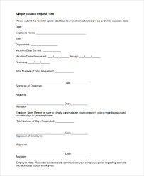 Sample Vacation Request Form Sample Vacation Request Form 8 Examples In Pdf Word