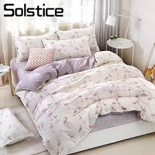 solstice home textile duvet cover flat bed sheet pillow case king queen twin flamingo light purple bedding linens set bedclothes beddings sets duvet bedding