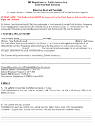 Catering Contract Template North Carolina Download