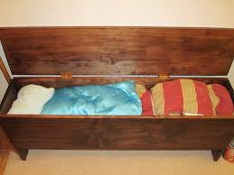 Build a storage bench Hinged Finished Bench Holding King Size Comforters And King Size Summer Quilt Dengarden How To Build Your Own Functional Storage Bench Dengarden