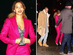 goes hot pink for date night with jay z in new york city