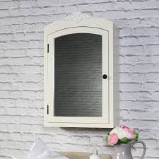 ornate cream mirrored bathroom wall cabinet with storage