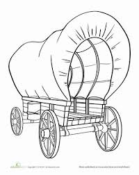 pioneer wagon drawing. color the covered wagon pioneer drawing w