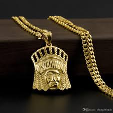 whole newest gold tone native american indian chief head portrait pendant necklace with 24 inch chain for men women hip hop jewelry pendants for
