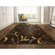 ottohome collection contemporary leaves design chocolate 8 ft x 10 ft area rug