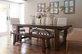 clic dining room design with white linen upholstered chairs benchwright extending table target