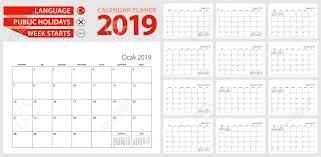 Callendar Planner Turkish Calendar Planner For 2019 Turkish Language Week Starts
