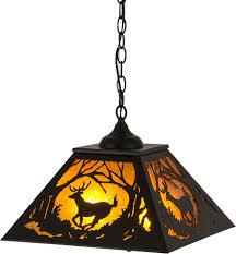 meyda 180042 deer at dawn rustic textured black amber mica ceiling pendant light loading zoom