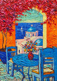 greece painting santorini dream greece contemporary impressionist palette knife oil painting by ana maria edulescu