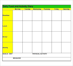Diet Log Sheet Calorie Counter Sheet Printable Food Log Template Download Free