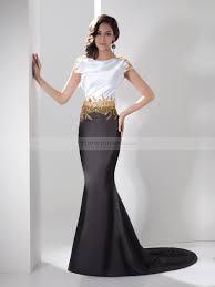 Two Toned Bateau Elastic Satin Evening Dress With Beaded Waist