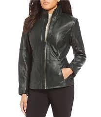 preston york leather faux leather womens preston york genuine leather stand collar scuba jacket forest green