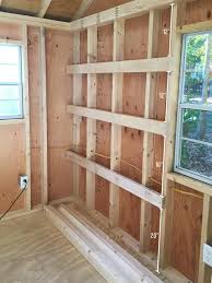 shed storage ideas hanging wood shelves