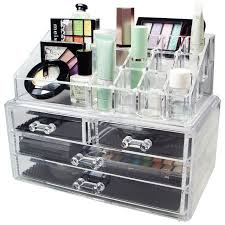 acrylic makeup organizer storage box case cosmetic jewelry 4 drawer cases holder makeup conner bo rangement maquill