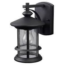 canarm ryder 1 light black outdoor wall lantern with seeded glass